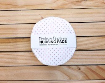 10 reusable NURSING PADS. Pink polka dot