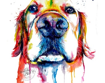 Colorful Golden Retriever Art Print - Print of my Original Watercolor Painting