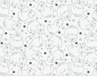 Bear Constellation White - Bonnie Nuit for Camelot Fabrics - low volume fabric, modern fabric, white bears, woodland fabric, boy fabric