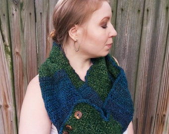Chunky Button Scarf - Crochet Cowl Scarf - Striped Scarf - Crochet Custom Scarf - Custom Infinity Scarf - You Choose Colors