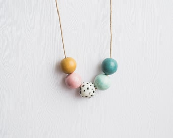 Ceramic Bead Mix Necklace | Leather & Vegan