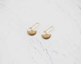 Geometric Semicircle Brass Earrings