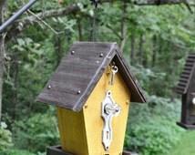 """Rustic Bird Feeder ~ """"The Cafe"""" - Wood Bird Feeder, Hanging Bird Feeder, Vintage Bird Feeder, Unique Bird Feeder"""
