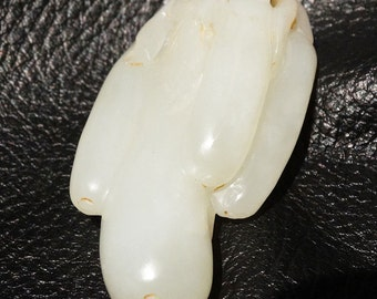 Hetian Jade Pendant White Nephrite Gourds on Leather Cord Qing Dynasty 1800s