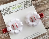 Baseball Hair Bow Hair Clip Set - Baseball Red Hair Bow Set - Girls Baseball Hair Clips - Toddler Baseball Hair Accessories - Baseball Clip