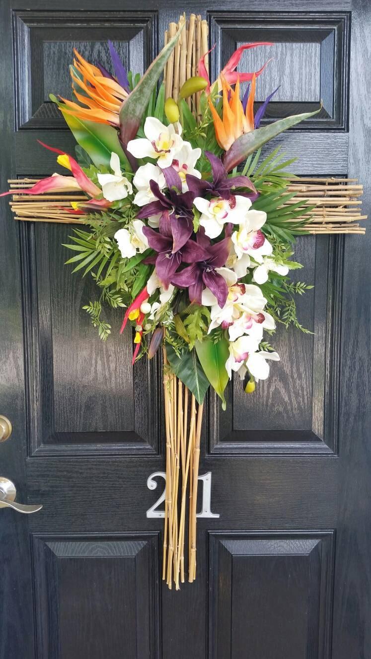 Large Elegant Bamboo Cross Tropical Floral Wreath Door Hanger