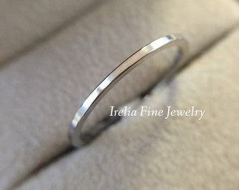 14k White Gold 1 mm Flat Wedding Band , Comes in 14k Yellow Gold ,  FREE SHIPPING