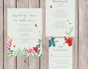 Wildflower Wedding Invitation, Wildflower Invitation, Wildflower Invites, Gray Wedding Invitation, Grey Wedding Invitation