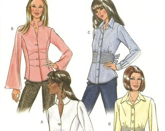 Butterick Misses Shirt Pattern – Fitted Waist – Darts -  Hip Length – Long Sleeve – Professional – Collar – V-Neck - Size 8, 10, 12, 14