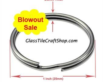 100 Pack 1 Inch Key Rings, Nickel Plated, Round Steel Split Ring. (1INSR)