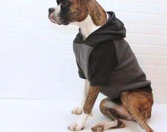 Dog Hoodie Large Dog Sweater Clothing for Girl/Boy in Black and Grey