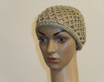 Crocheted NET hat from Brown Ribbon yarn with gold in the 30s-era
