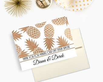 Wedding Thank You Cards, Pineapple Print, Modern Wedding Stationery, Personalized Newlywed Cards, - Set of 10 - Envelopes Included