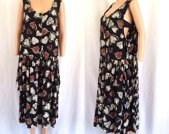 1990s Oversized Heart Print Summer Dress Sz. L/XL
