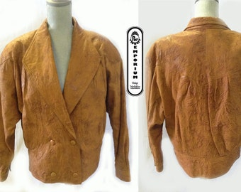 Women's Vintage Leather Jacket 1980's Double Breasted Brandy Color Crinkled Distresses Leather Jacket No. 1