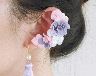 Romantic Purple Flower  clip on earring (for left ear)wedding earrings