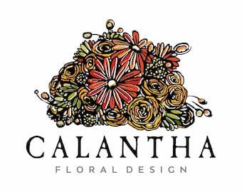 Premade Logo - Hand Drawn Flower Bouquet Logo Roses Daisies Floral Botanical Logo Gardening Blog Logo Illustrated Logo Design