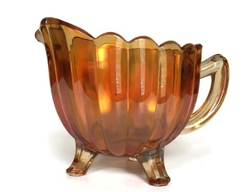 Vintage carnival glass creamer Imperial glass iridescent marigold