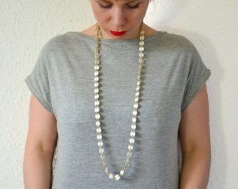 Long white chain necklace Long leather chain Long necklace Long chain necklace 20s necklace Flappers necklace Layered necklace Layered chain