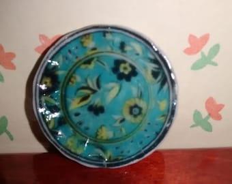 Dolls House miniature Floral Turquios' Ceramic Plate