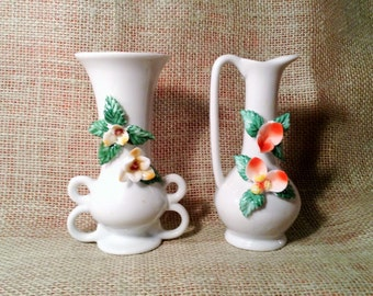 Pair of Miniature Vases - Fine China Figurines - Vases with Colored Glass Flowers