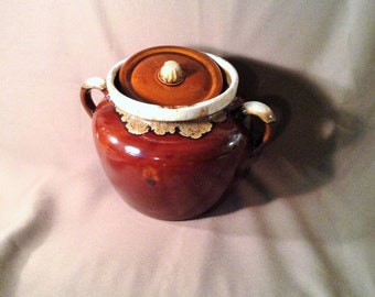 Large Brown Drip Glazed Bean Pot - USA - Cookie Jar or Kitchen Storage - Kitchen, Laundry Room, Patio Decor - Garden Art, Outdoor Planter