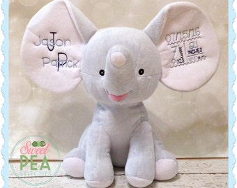 Personalized Elephant Stuffie - Elephant stuffed animal - Monogram elephant - Plush Elephant - Baby Shower Gift - New baby Gift - Photo Prop