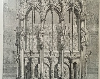Antique German Lithograph - St. Sebald's Tomb Nuremburg - Old German Drawing - Antique Pencil Drawing from 1800s