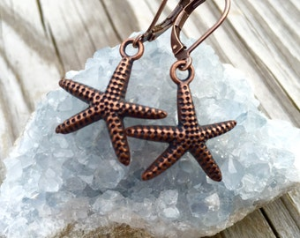 Antiqued Copper Starfish Earrings With Lever Backs