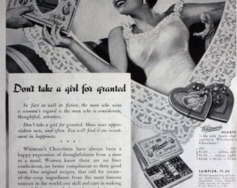 1940 ad Whitman's Chocolate Candy Valentine-Don't Take a Girl For Granted Vintage Print Ad ETK203