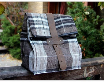 Coffee & Plaid Lunch Box / Insulated lunch bag for men and women / Lunch tote / Gift for him/ personalization