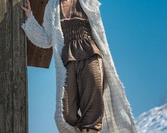Long Coat, Summer coat, white Cardigan, Oversized hoded coat, Boho Coat, Minimalist Cardigan, Summercoat, white knitted summer cardigan,
