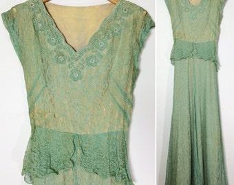 Vintage 1940s Lace Dress / Lace Gown / 1940s 40s Dress / Pink Lace Dress / Vintage Dress Extra Small / Green Lace Dress / Peplum Dress