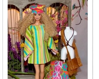 Peace- 60's Mini-Dress, Purse, Hat, Vest, and Necklace. Mod 1:6 Scale Fashion Doll Clothes.