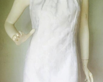 White Funky Floral Organza Overlay Halter Neck Occasion Dress