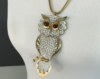 "Large Vintage Owl Pendant Necklace with Snake Chain, 24"" Length, 4.5"" Pendant"