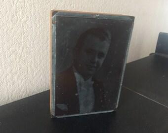 "Vintage etched copperplate print photo block of male Frank Walder ""Gonzalez"""