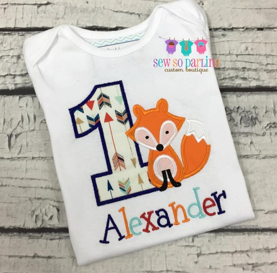 1st Birthday Fox Shirt Woodland Birthday Shirt Baby Boy