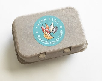 """Egg Carton Labels, Food Labels, Chicken Stickers, Coop Supplies, Egg Packaging, Farm Market, Backyard Chickens, 12 Labels, 2.5"""" Round"""