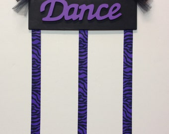 Dance Sign Girls Bedroom Wooden Hair Bow Holder Hair Bow Black and Purple with Black and Purple Zebra Ribbon