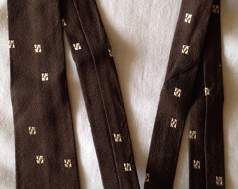 1960s brown rayon and acetate skinny tie