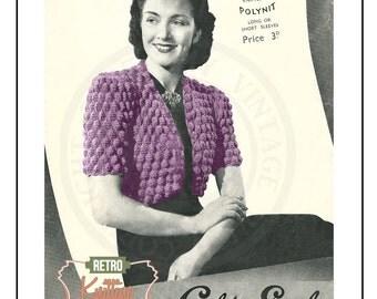 1940s Trees Bolero Knitting Pattern - PDF Instant Download