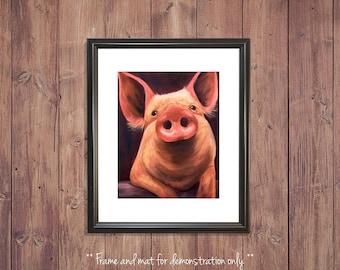 Pig Print from Original Oil Painting, Farm, 4x5, 8x10