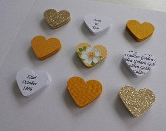 Handmade personalised Golden Wedding Anniversary card - 50th 50