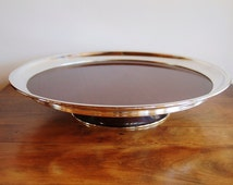 Mid Century Silver Wood Grain Formica Lazy Susan, Crescent Silver Plate Faux Wood Spinning Dining Buffet Table Bar Server, Cake Stand