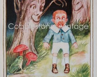Antique Halloween Postcard Comical Funny Scared Boy Black Cat, Joyous Halloween Illustration Digital Image Instant Download Vintage Postcard