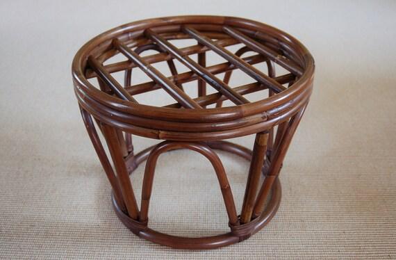 Round Bamboo Rattan Papasan Stool Table Mid Century Dark