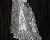 RTS - Silver Tonal Damask Knee-Length Hi-Lo Hem Skirt