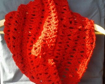 Red Lacey Crochet Infinity Scarf