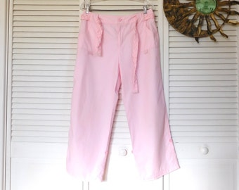 Pink Capri Pants Matching Belt Braided Belt Adjustable Legs Cotton Size 10 Boho Beach Style Vintage Clothing